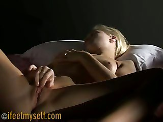 Blonde Touches Herself On The Bed