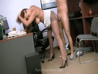 Pantyhose Izzy Gets Office Fucked